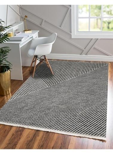 MarkaEv Siyah Beyaz Çizgili Modern Kilim 012  Renkli